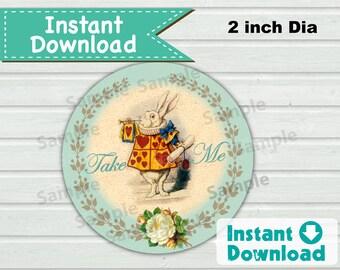 Alice in Wonderland Take Me favor tag. Instant Download. Turquoise rabbit mad hatter tea party. Printable DIY digital file. B100 BS112
