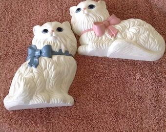 Vintage Homco Persian Cats Wall Decor.