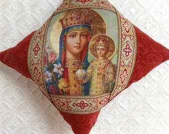 Handmade Christmas ornament, Russian icon ornament, Madonna and Child, red ornament, icon ornament