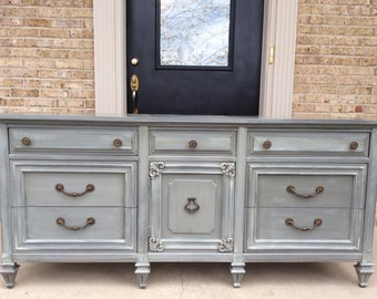 SOLD!!! - Distressed Grey 9 Drawer Dresser Credenza