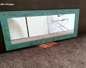 full length mirror/ Aqua mirror/  wood mirror