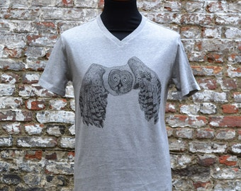 Heather grey men's owl T-shirt | fair and organic | by ArtEffectPrints