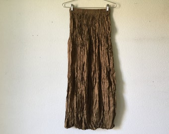 Vintage Skirt - Burlap Wrinkle Tiered Maxi Skirt Goth Punk Grunge Boho