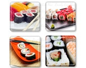 Set of 4, Sushi Magnets, Glass Tile Magnets, Glass Magnet, Refrigerator Magnets, Fridge Magnets, Japanese Food, Oriental Cuisine, Asian Food