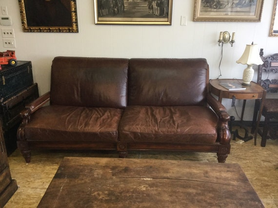 Vintage Cibola   Stickley Distressed Leather Sofa   Couch