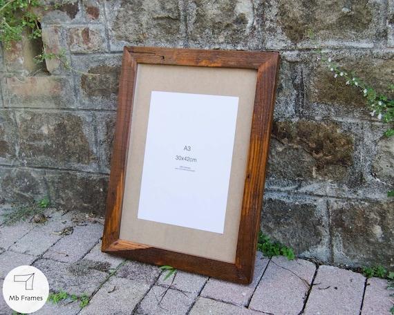 Cuadro rústico marco-A3 estándar tamaño Vintage reciclado madera ...