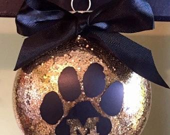 Mizzou glitter ornament with vinyl