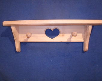 """wood shelves, wooden shelves, rustic wooden shelves, wooden wall shelves, 16""""pine Shelf with heart and pegs, unfinished wall shelf handmade"""