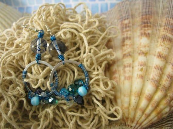 Mermaid's Tail Wire Crochet Earrings