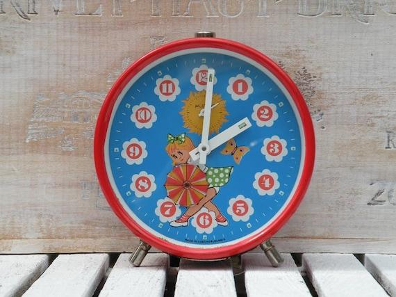 Vintage Kiple red alarm clock, Kiple alarm clock, retro clock, cartoon clock, collectible alarm clock, red and blue alarm clock, red clock