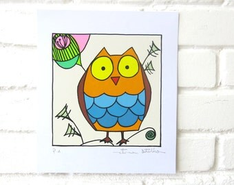 Happy Owl - Screenprint