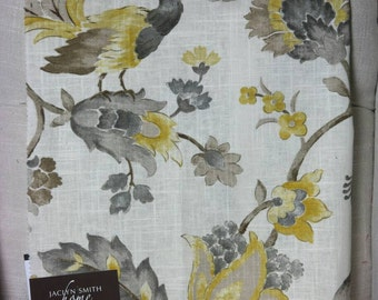 Upholstery, Bird, Floral, Gray Fabric by the Yard, Home Decor, Drapery Curtains, Designer, Remnant Fabric, Pillow Fabric, Sewing
