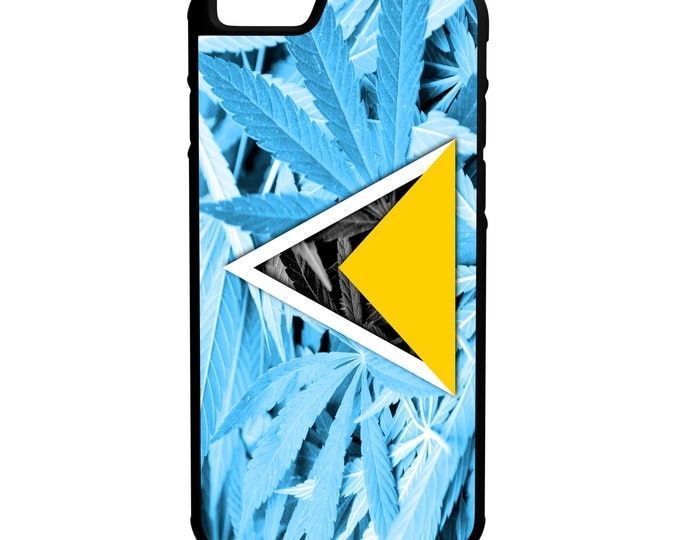 St Lucia Weed Flag iPhone Galaxy Note LG HTC Protective Hybrid Rubber Case Black