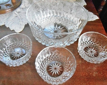 Arcoroc France Diamond Star Large Clear Glass Serving Bowl And 3 Smaller Bowls - Free Shipping