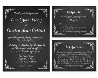 Chalkboard Wedding Invitation Suite - Vintage Wedding Invitation Set - Calligraphy Invitation - RSVP Card - WI07
