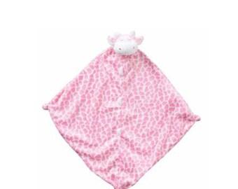 Monogrammed Pink Giraffe / Angel Dear / Personalized Blankie / Security Blanket / Baby Blankie Gift / Animal Blankie