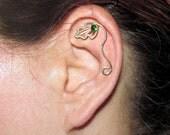 Leaf cartilage stud, cartilage earring, cartilage piercing, Fantasy Earring, wire cartilage stud, Dryad earring