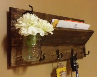 Rustic Mail Holder, Home Decor, Wood Mail Holder, Mail Organizer, Key Holder, Key rack, House warming, Hostess gift, Rustic Decor, farmhouse