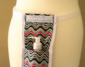 Massage oil/lotion holster - multicoloured fabric