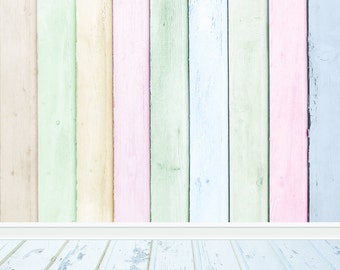 Chic Wood Photography Backdrop, Newborns Children photography background, colorful wood planks photo floordrops, portraits photodrop B-1003