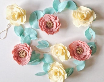 Spring Garland - Felt Flower Garland - Felt Garland - Flower Garland - Floral Garland - Wedding Garland - Wedding Reception Decor