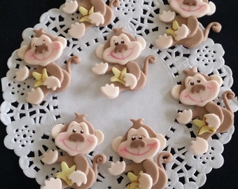Monkey Baby Shower, Monkey Cupcake Toppers, Baby Monkey Figurines, Jungle Cupcake Toppers, Jungle Baby Monkey, Jungle Safari Cupcake, Monkey