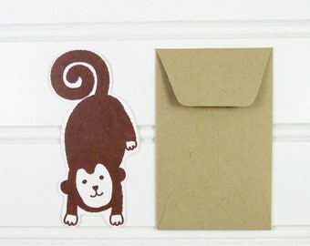 Mini Monkey Card, Gift Tags, Monkey Gift Enclosure, Mini Cards, Mini Envelope, Cute Monkey, Gift Card Envelope, Place Card, Lunch Box Notes