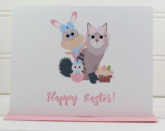Easter Cat Card, Cat Easter Card, Happy Easter Card, Boyfriend, Girlfriend, Brother, Sister, Niece, Nephew, Grandmother, Grandfather, Friend