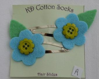 Felt flower hair slides/clips