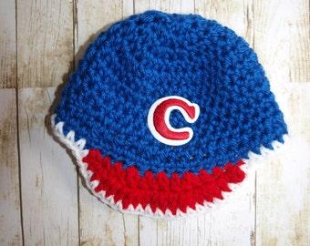 handmade newborn Cleveland Indians baseball hat, baby Cleveland Indians hat, Cleveland Indians baby hat, crochet Cleveland Indians baseball