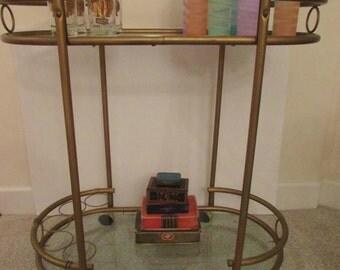 Bar Cart Mid Century Modern Bar Cart - Brass - Two Tier  Hollywood Regency - Brass and Glass - Bar Cart - Vintage Bar Cart - Oval Art Deco -