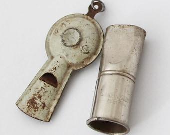 Rare Vintage Whistle Lot 2 x German US Zone Tin Siren Whistle