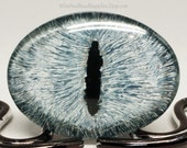 Glass Eye Gray and Silver Dragon Eye Cabochon 40x30mm Hand Painted - CLEARANCE