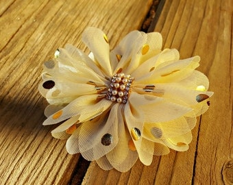 Cream and Gold, Polka Dot Flower Clip, Girls Hair Clip, Hair Accessory, Wedding Flower, Photo Prop, Gold Polka Dot Flower, Baby Hair Flower
