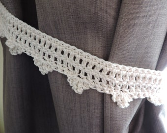 Crocheted Curtain Tiebacks in 100% Cotton