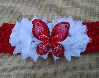 Butterfly Headband, Flower Headband, Baby Headband, Red Headband, Baby Hair Accessory, Newborn Headband, Baby Girls Headband
