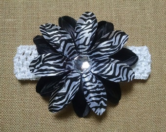 Hawaiian Headband, Flower Headband, Baby Headband, Baby Hair Accessory, Zebra Print Headband, Infant Headband, Baby Girl Headband