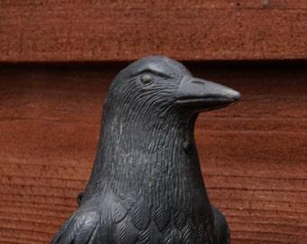Vintage Black Crow Decoy, Raven Plastic Decoy, Crow Decoy
