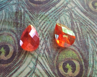 Pretty Fiery Orange AB Faceted  Crystal  Briolette **one pair**