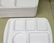 Prolonware lunch trays - set of 16 - white - school lunches- Prolon Ware - Melmac - Picnic - Camping -