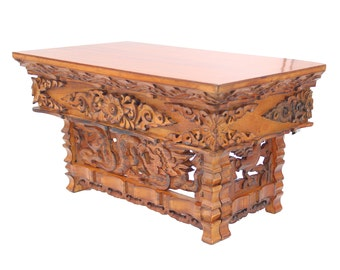 Solid Wood Hand Carved Tibetan Buddhist Prayer Shrine Altar Meditation Table