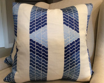 """Brunschwig and Fils Pillow Cover in Blue """"Clouds"""" Embroidered Linen"""