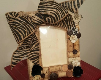 4x6 zebra recycled cork wine frame with paper flowers and buttons