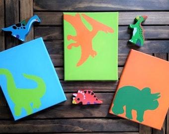 Dinosaur Wall Art, Dinosaur silhouette, Dinosaur Nursery Art, Boys dinosaur room, Baby boy decor, Dinosaur decor 8x10 Canvases