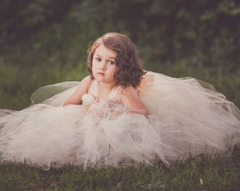Champagne, Gold and Ivory Flower Girl Dress, Champagne Flower Girl Tutu Dress, Champagne Tutu Dress