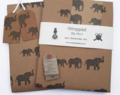 Elephant Gift Wrap Set: 2 Sheets of Kraft Wrapping Paper, 2 Gift Tags, 4 Kraft Stickers & 5m Hemp Twine.