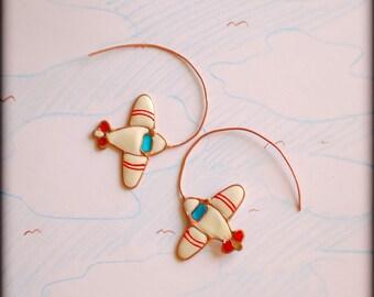 Airplane earrings, Planes, Aviation, Sky earrings, Stewardesses.