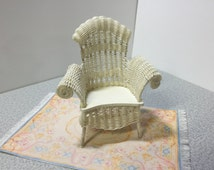 Vintage Dollhouse Hand Woven Wicker Chair Dollhouse Miniature Wicker Chair