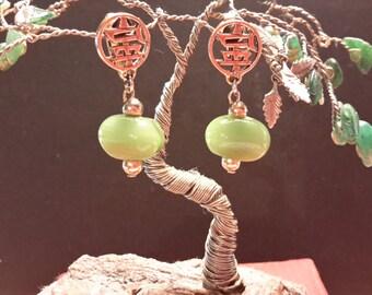Vintage ~ Asian ~ Peking Glass ~ Earrings ~ Green Drops ~ Gold Tone Filigree ~ Pierced Style ~ Classic ~ Striking