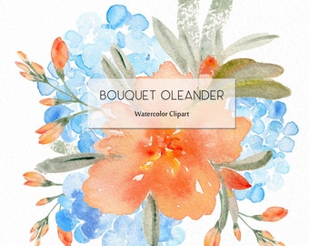 Bouquet Oleander Watercolour clip art hand drawn. Romantic wedding, peachy Oleander and  blue hortensia flowers, invitations, watercolour